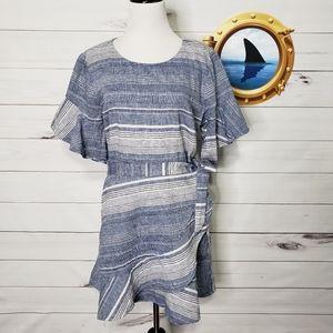 Express linen dress wrap skirt flutter sleeves